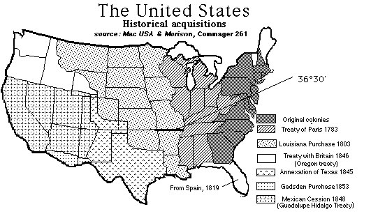 Westward Expansion Best Of History Web Sites US And Canada - Blank map of us territorial acquisitions